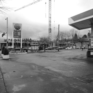 The 76 gas station will be going away in the foreseeable future. Meanwhile, a mixed use building is on the rise. This intersection is ungoing profound changes. The identity of the Central District's African-American population has been important to this area. The future is still unknown.