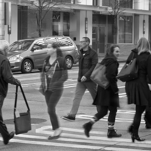 Union Street - Unfolding Project exploring idea of place in the landscape and impact of economics and social/cultural background. Woman in the shadows crossing in between the others is the witness to what's seen now that other's ignore.