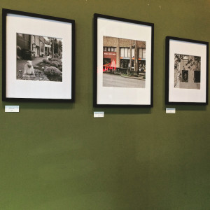 Three photos from installation of Unfolding: Conversation About Union Street